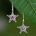 Silver 'Wish On A Star' Garnet Dangle Earrings (Indonesia)