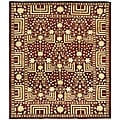 Indo Kazak Hand-knotted Maroon Wool Rug (5&#39; x 8&#39;)