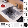 Kraus Stainless Steel Undermount Kitchen Sink, Brass Faucet/ Dispenser