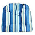 Bloomsbury Blue Stripe Outdoor Loveseat Cushion