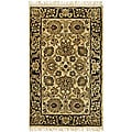 Handmade Heirloom Ivory/ Black Wool Rug (3' x 5')