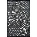 Handmade Soho Deco Wave Dark Grey New Zealand Wool Rug (5' x 8)