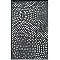 Handmade Soho Deco Wave Dark Grey N. Z. Wool Rug (7'6 x 9'6)