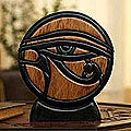 Ishpingo Wood 'Eye of Horus' Sculpture (Peru)