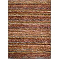 Hand-knotted All-Natural Striped Red/ Multi Rug (2' x 3')