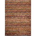 Hand-knotted All-Natural Striped Red/ Multi Runner (2'6 x 10')