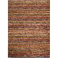 Hand-knotted All-Natural Striped Red/ Multi Rug (4' x 6')