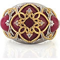 Michael Valitutti Palladium Silver/ 18k Vermeil Red Jade and Sapphire Ring
