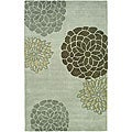 Handmade Soho Botanical Light Grey New Zealand Wool Rug (5' x 8')
