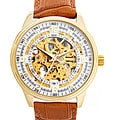 Akribos XXIV Men&#39;s Saturnos Goldtone Skeleton Dial Automatic Strap Watch