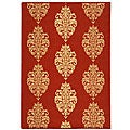 Indoor/ Outdoor St. Martin Red/ Natural Rug (7'10 Square)