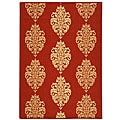 Indoor/ Outdoor St. Martin Red/ Natural Rug (4' x 5'7)