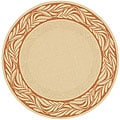 Indoor/ Outdoor Tranquil Natural/ Terracotta Rug (6'7 Round)