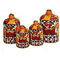 'Fruit Delight' Hand-painted 4-piece Canister Set