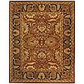 Handmade Classic Jaipur Rust/ Black Wool Rug (7'6 x 9'6)