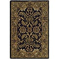 Handmade Traditions Black/ Light Brown Wool Rug (2' x 3')