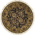 Handmade Traditions Black/ Light Brown Wool Rug (3'6 Round)