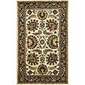 Handmade Classic Heirloom Ivory/ Navy Wool Rug (3' x 5')
