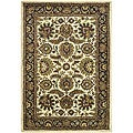 Handmade Classic Heirloom Ivory/ Navy Wool Rug (4' x 6')