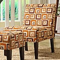 ETHAN HOME Orange Cube Print Lounge Chair
