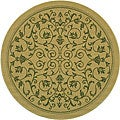 Indoor/ Outdoor Resorts Natural/ Olive Rug (6'7 Round)