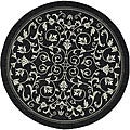 Indoor/ Outdoor Resorts Black/ Sand Rug (6'7 Round)