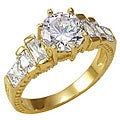 Simon Frank 14k Gold Overlay &#39;Stairway to Heaven&#39; Cubic Zirconia Ring
