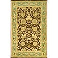 Handmade Mashad Brown/ Green Wool Rug (4' x 6')