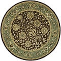 Handmade Mashad Brown/ Green Wool Rug (6' Round)