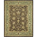 Handmade Mashad Brown/ Green Wool Rug (6' x 9')