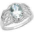 Malaika Sterling Silver Oval-cut Aquamarine Ring (1.45 mm)