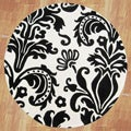 Hand-tufted Quill Feather White/ Black Wool Rug (6' Round)