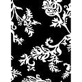 Contemporary Hand-Hufted Quill Feather Black/White Wool Rug (8' x 10')