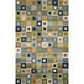 Hand-tufted Square in Square Ocean Rug (2' x 8')