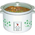 White and Green Floral 1.5-liter Electric Slow Cooker