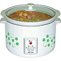 White and Green Floral 5.5-quart Electric Slow Cooker
