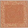 Indoor/ Outdoor Oasis Terracotta/ Natural Rug (7'10 Square)
