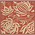 Indoor/ Outdoor Andros Red/ Natural Rug (7'10 Square)
