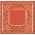 Indoor/ Outdoor Abaco Red/ Natural Rug (7'10 Square)