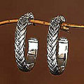 Sterling Silver 'Braids' Half Hoop Earrings (Indonesia)