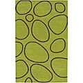 Alliyah Handmade Modern Rock Green Geometric New Zealand Blend Wool Rug (8&#39; x 10&#39;)