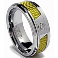 Men's Tungsten Carbide Cubic Zarconia Yellow Carbon Fiber Ring (8 mm)