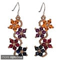 Sterling Silver Multi-colored Crystal Flower Earrings (USA)