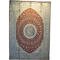 Asian Hand-knotted Qum Red Silk Rug (10' x 14')