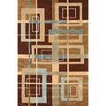 Brown Abstract Rug (3&#39;6 x 5&#39;6)
