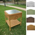 Wicker Glass Top Side Table