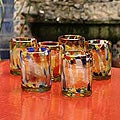Set of 6 Glass &#39;Liquid Confetti&#39; Tumblers (Mexico)