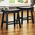 ETHAN HOME Salvador Saddle Back 18-inch Stool in Black Sand-Through (Set of 2)