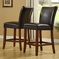 ETHAN HOME Parson Dark Brown Vinyl 24-inch Stools (Set of 2)