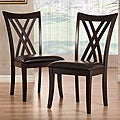 ETHAN HOME Almeria Espresso Double X-back Faux Leather Chairs (Set of 2)